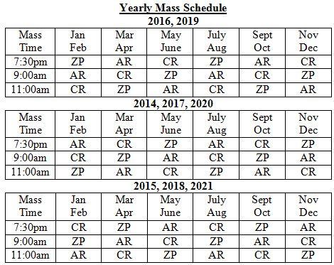 catholic church schedule